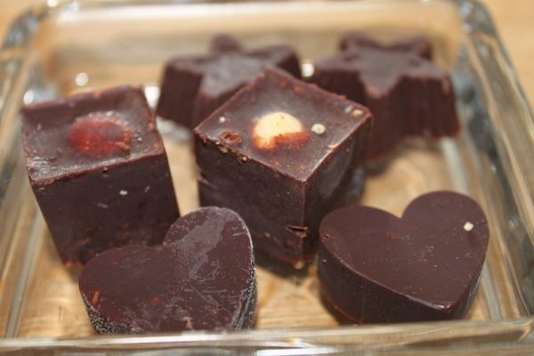 Raw chocolates with fruit & nut fillings